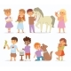 Toddler Cartoon Vector Kids Characters Petting