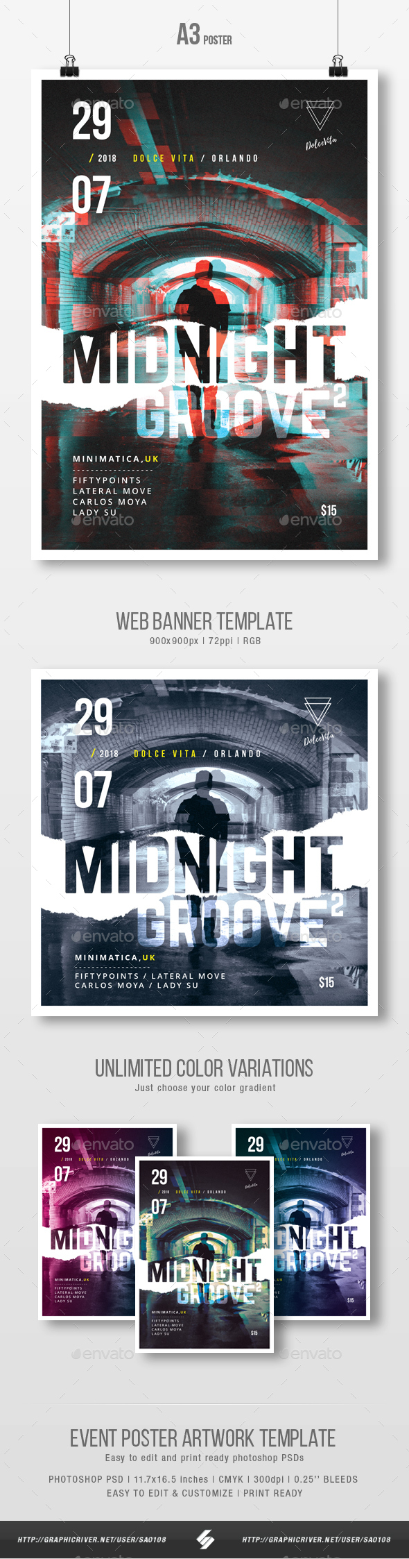 Midnight Groove 2 - Underground Party Flyer / Poster Template A3 - Clubs & Parties Events
