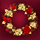 Wreath of Roses on Red Background