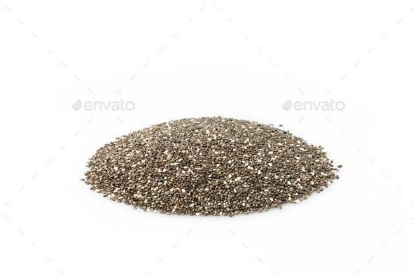 chia seeds isolated on white background - Stock Photo - Images