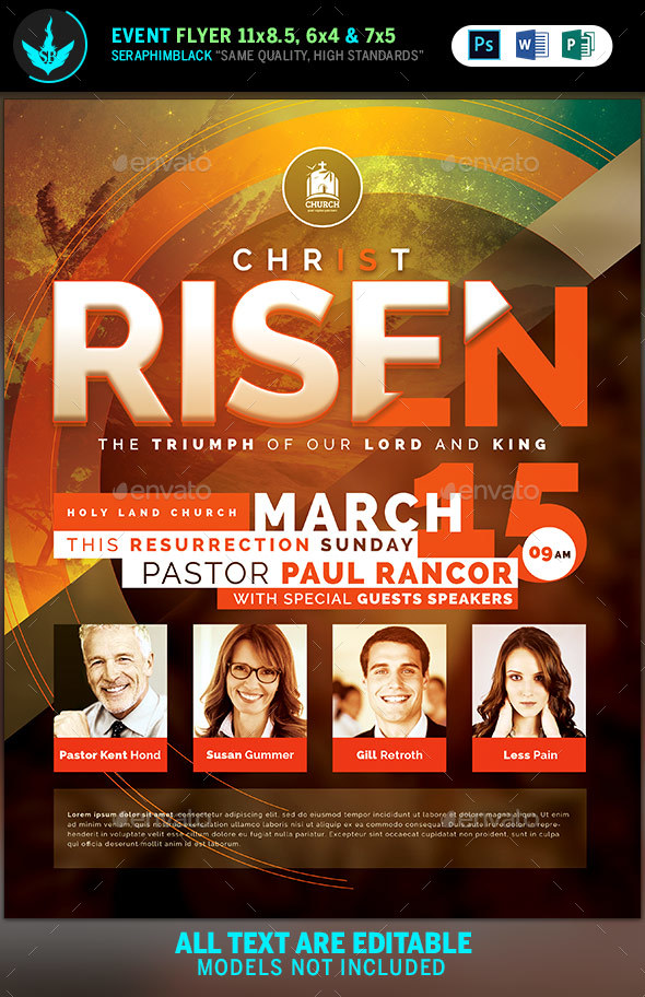 Christ Is Risen Church Flyer Template By Seraphimblack Graphicriver