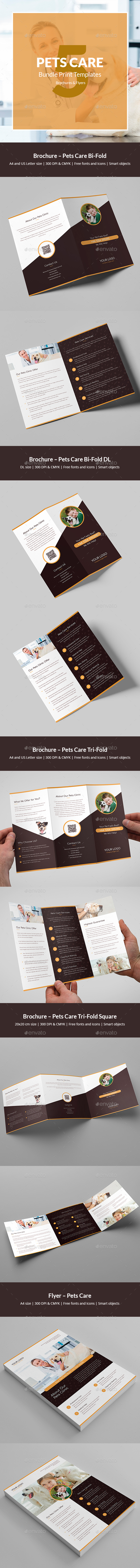 Pets Care – Bundle Print Templates 5 in 1 - Informational Brochures