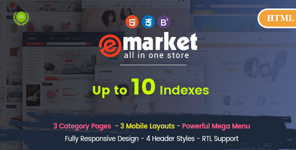 eMarket - Creative Responsive MultiPurpose HTML 5 Template (Mobile Layouts Included) - Retail Site Templates