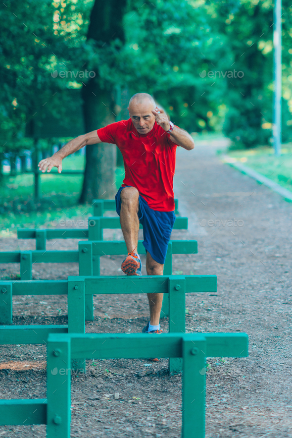 Outdoor exercising senior   - Stock Photo - Images