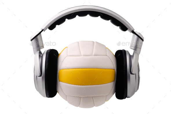 Headphones on a volleyball ball - Stock Photo - Images