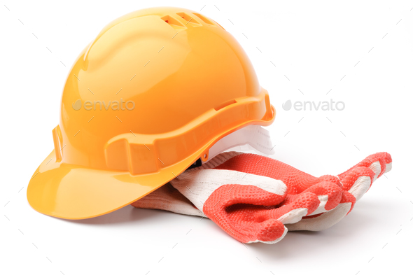 Hard hat and gloves - Stock Photo - Images