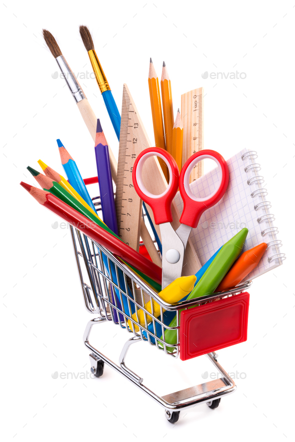 School or office supplies, drawing tools in a shopping cart - Stock Photo - Images