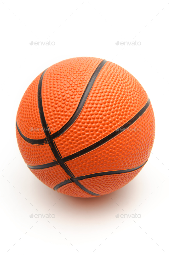 Bright orange basketball ball on a white background - Stock Photo - Images