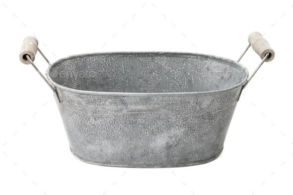 Zinc-coated washbowl - Stock Photo - Images