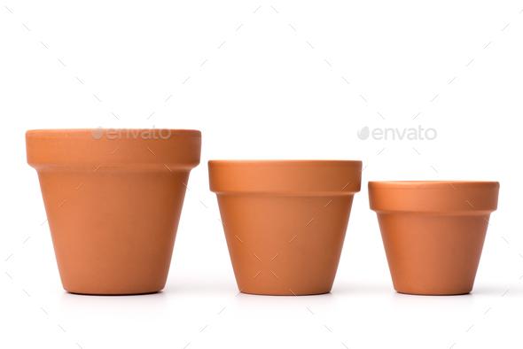 Empty ceramic flower pots - Stock Photo - Images