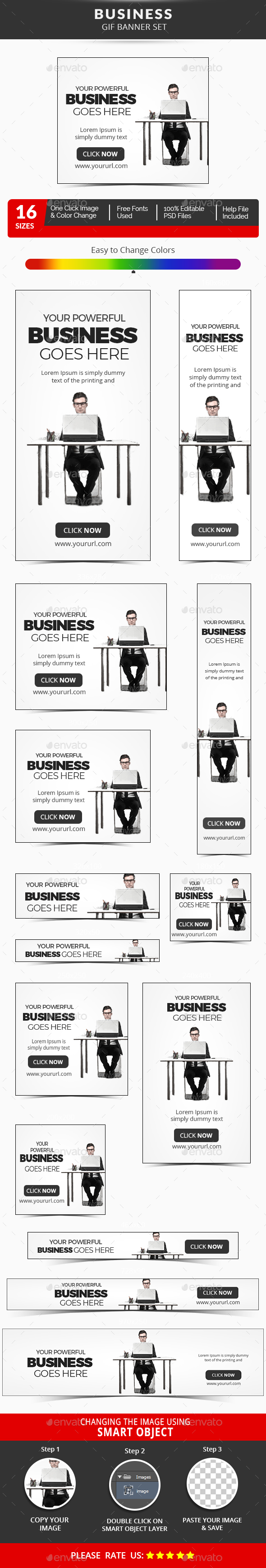 Business Animated GIF Banner Set - Banners & Ads Web Elements