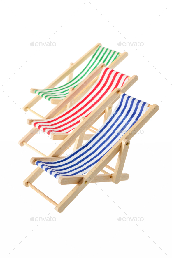 Striped deck chairs - Stock Photo - Images