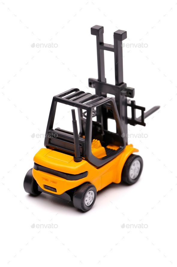 Yellow toy forklift - Stock Photo - Images