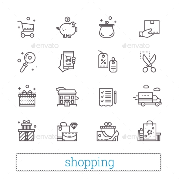 Shopping, Commerce And Retail Thin Line Icons. - Business Icons