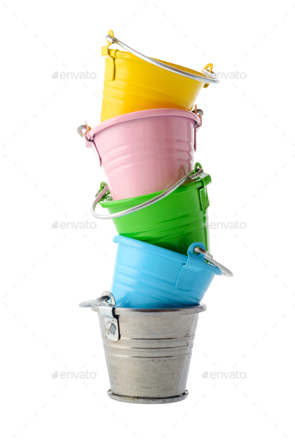 Colorful buckets - Stock Photo - Images