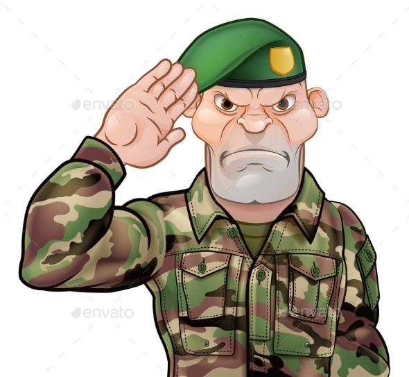 Saluting Soldier Cartoon - People Characters