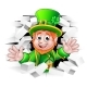 St Patricks Day Leprechaun Breaking Wall - GraphicRiver Item for Sale