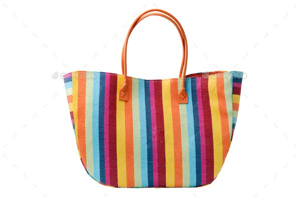 Colorful striped beach bag - Stock Photo - Images