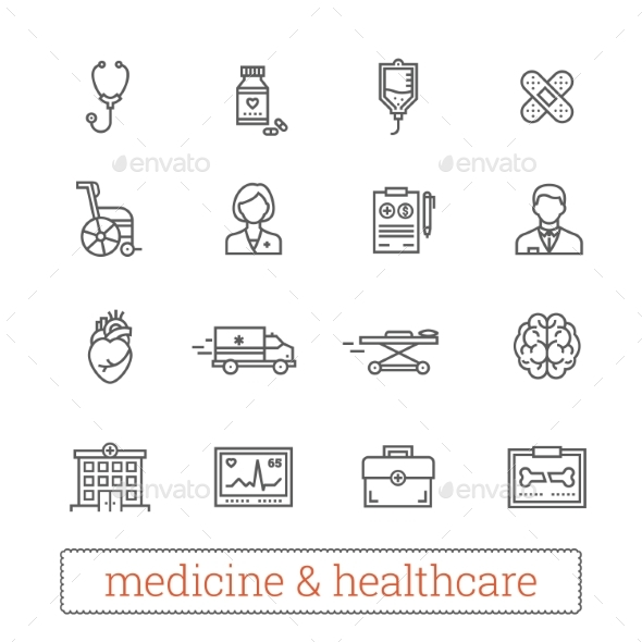 Medicine And Healthcare Thin Line Vector Icons.