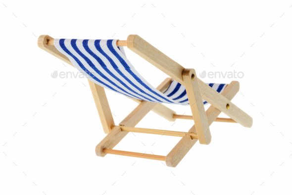 Striped deck chair - Stock Photo - Images