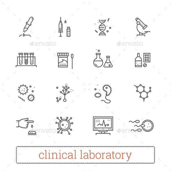 Clinical Laboratory, Medicine Science Line Icons. - Technology Icons