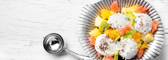 Ice cream with fruit - Stock Photo - Images