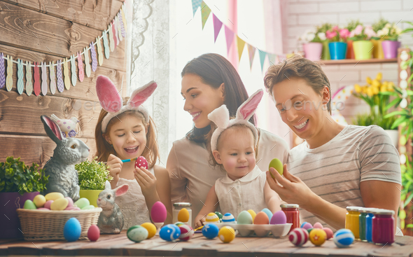 family preparing for Easter - Stock Photo - Images