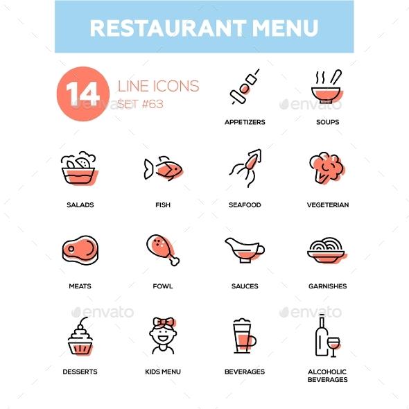 Restaurant Menu - Line Design Icons Set - Miscellaneous Icons