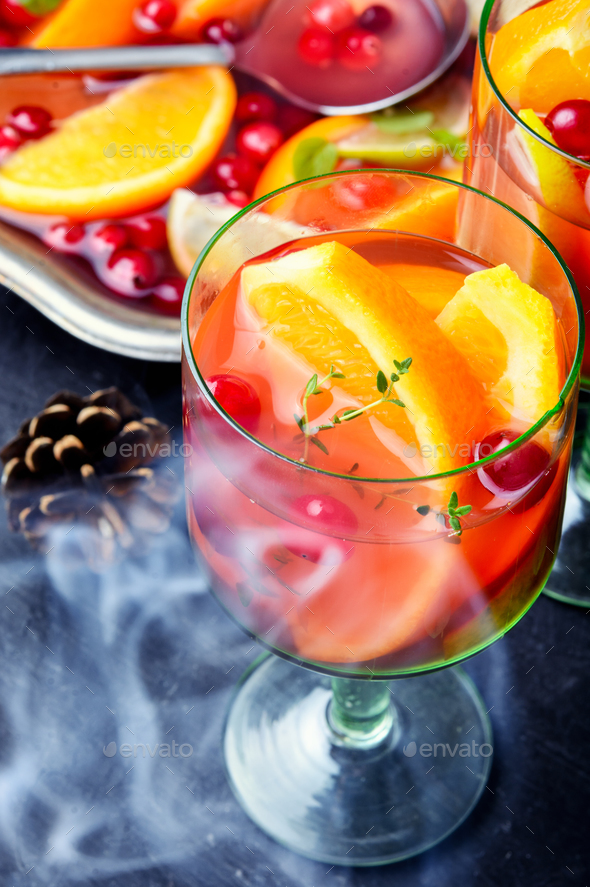 Refreshing sangria with fruits - Stock Photo - Images