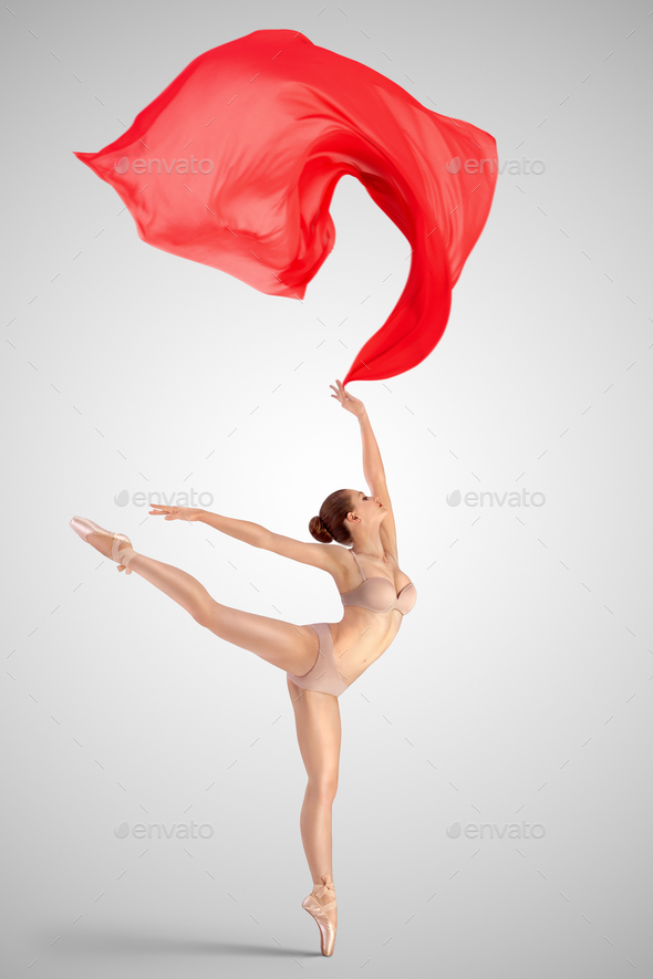 Dancing with red fabric. - Stock Photo - Images