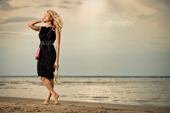 Calm and barefoot. - Stock Photo - Images