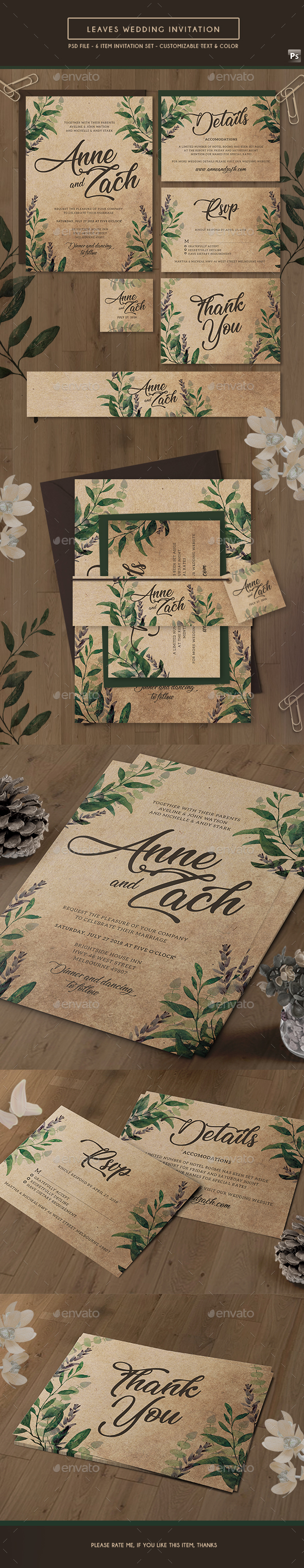 Leaves Wedding Invitation - Weddings Cards & Invites