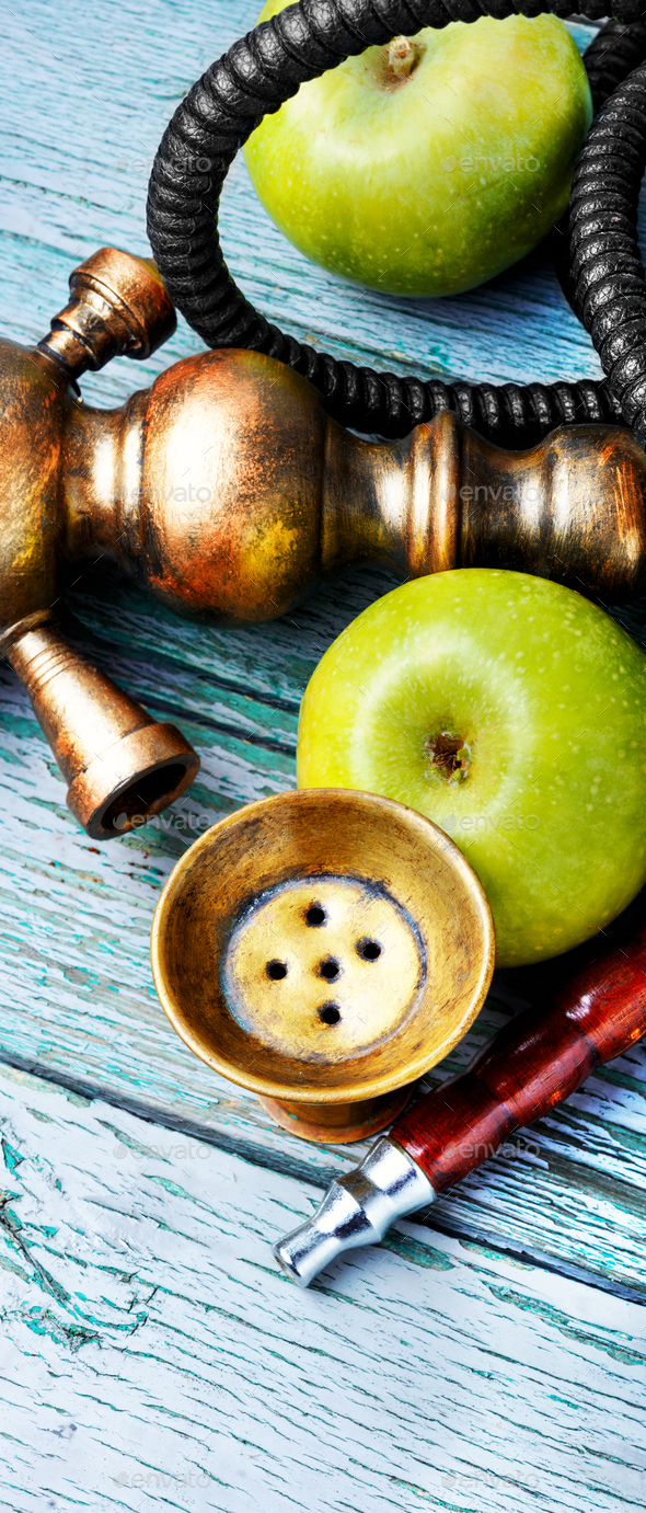 Stylish asian shisha with green apple - Stock Photo - Images