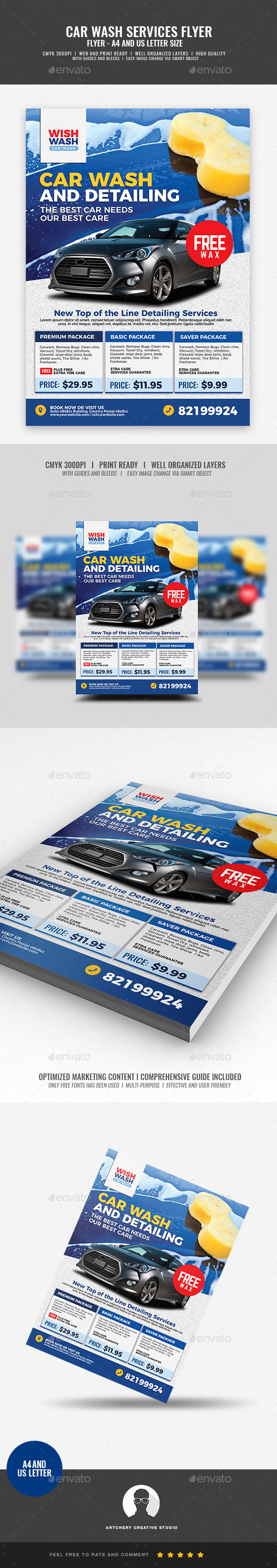 Car Wash and Detailing Services Flyer - Corporate Flyers