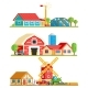 Farm Village Rural Buildings Trees Concept Vector - GraphicRiver Item for Sale