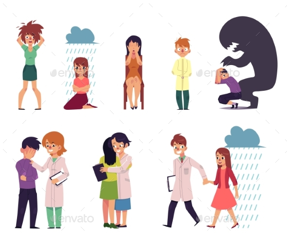Vector Flat People Suffering From Mental Illness - People Characters
