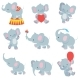 Cartoon Baby Elephants Vector Collection