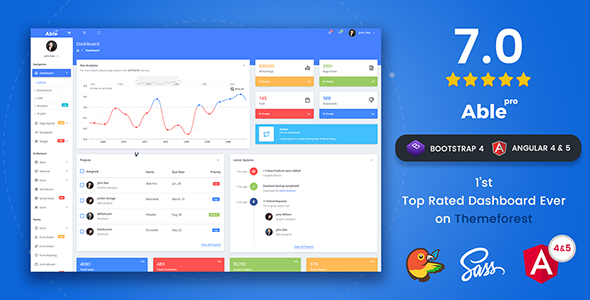 Able pro 7.0 Responsive Bootstrap 4 Admin Template + Angular 4 & 5
