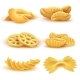 Realistic Cooking Pasta Types Isolated Vector Set