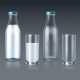 Realistic Glass Bottles and Glasses with Milk - GraphicRiver Item for Sale