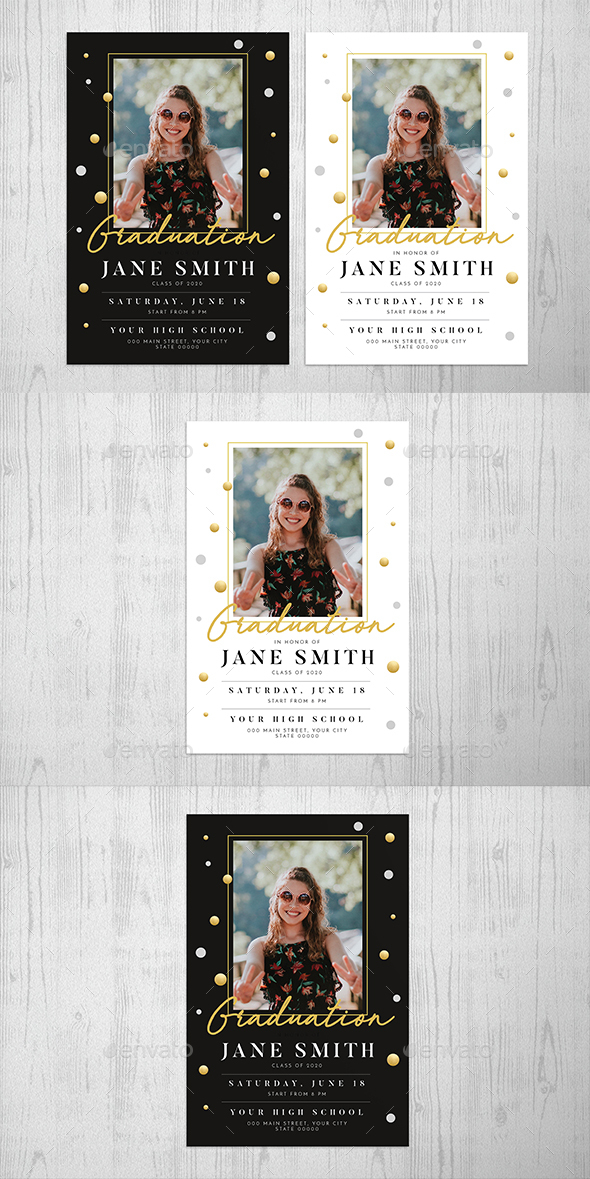 Gold Graduation Invitation - Cards & Invites Print Templates