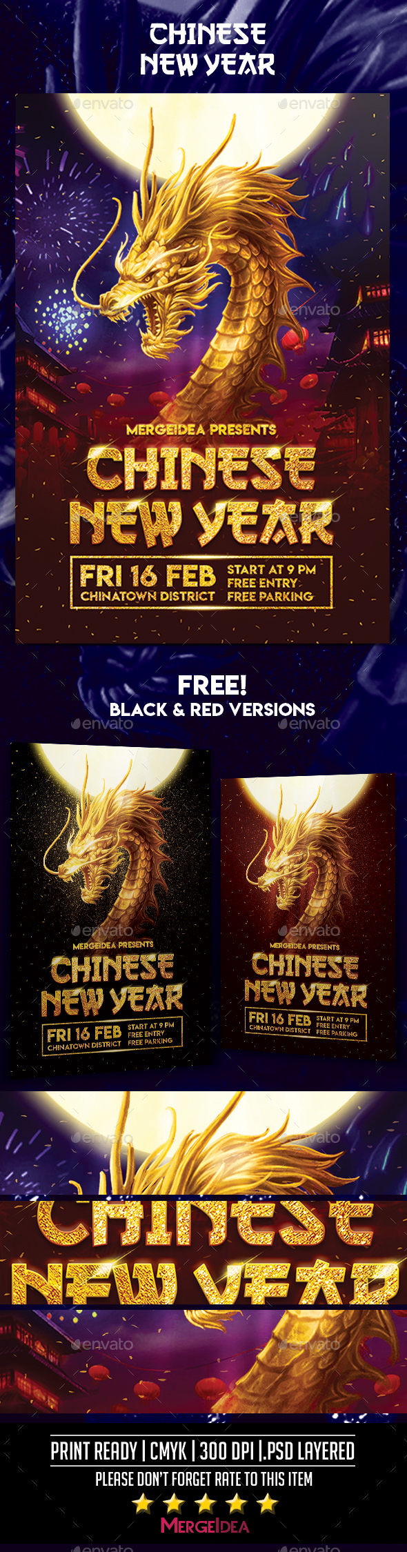 Chinese New Year Golden Dragon Flyer - Events Flyers