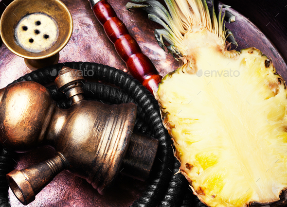 Stylish oriental shisha with pineapple - Stock Photo - Images