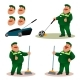 Cartoon Janitor with Emotions Set