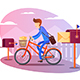 Postman on Bicycle Delivers Letters - GraphicRiver Item for Sale