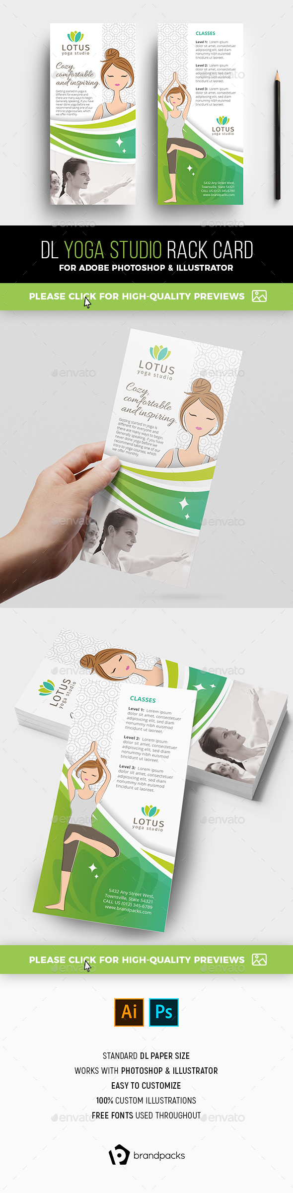 Yoga Studio Rack Card Template - Sports Events