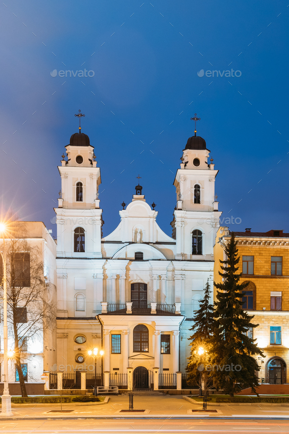 Minsk, Belarus. View Of Cathedral Of Saint Virgin Mary In Evenin - Stock Photo - Images