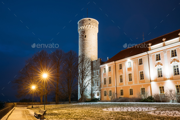 Tallinn, Estonia. Evening Night View Of Upper Town Castle Corner - Stock Photo - Images