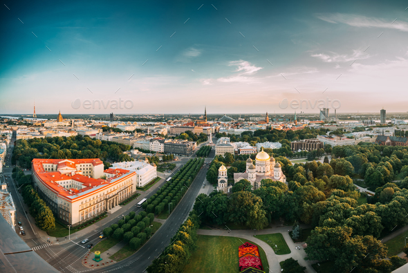 Riga, Latvia. Riga Cityscape. Top View Of Buildings Ministry Of - Stock Photo - Images