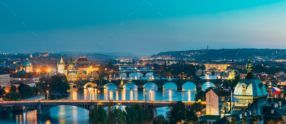 Prague, Czech Republic. Evening Panoramic View Of Evening Citysc - Stock Photo - Images
